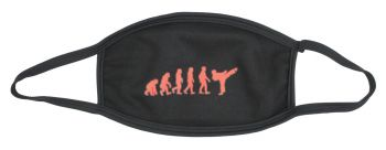 Mouth-nose mask cotton black evolution karate red
