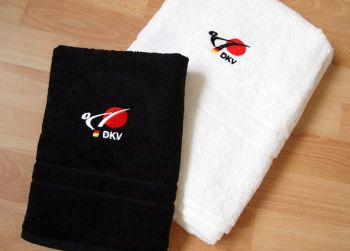 shower towel embroidered with the logo of DKV
