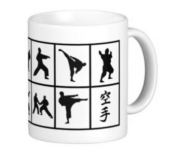 cup with karate motifs