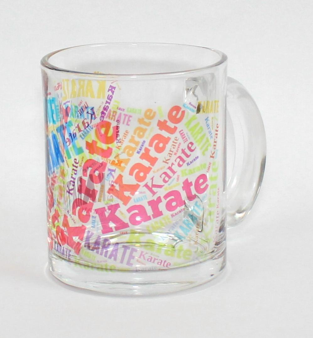 Glas tasse mit motiv karate text ausr stung f r karate for Glas mit motiv